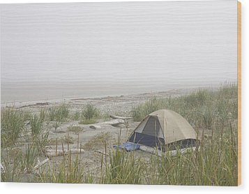 A Tent Sits In The Dunes By The Beach Wood Print by Taylor S. Kennedy
