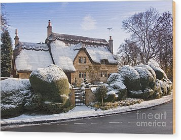 A Thatched Cottage In The Cotswolds  Wood Print by Andrew  Michael