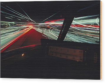 A Time Exposure Showing Streaks Wood Print by Paul Chesley