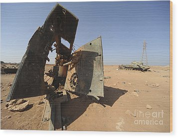 A Tracked Artillery Vehicle Destroyed Wood Print by Andrew Chittock