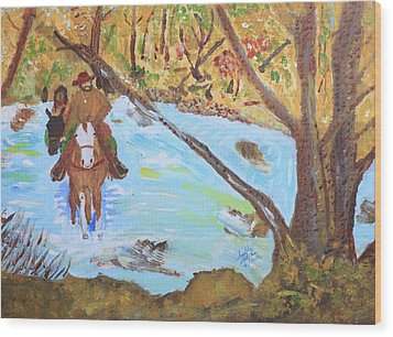 A Trapper And His Indian Lady Crossing A Stream Wood Print by Swabby Soileau