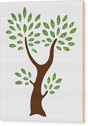 A Tree Wood Print by Frank Tschakert