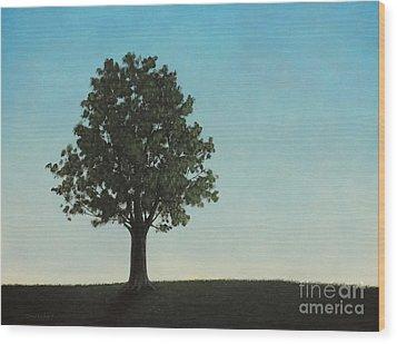 A Tree On A Hill Wood Print by Dan Lockaby