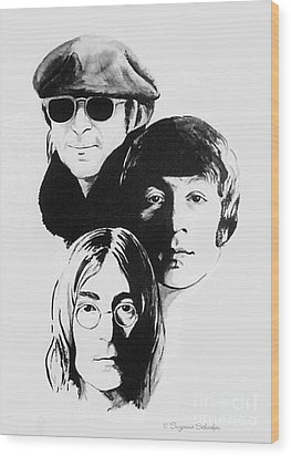 A Tribute To Lennon Wood Print by Suzanne Schaefer