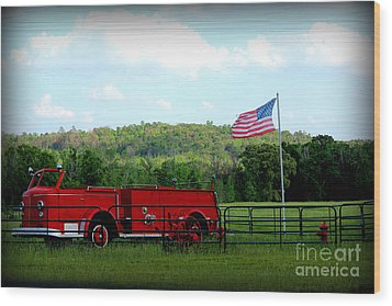 Wood Print featuring the photograph A Tribute To The Fireman by Kathy  White