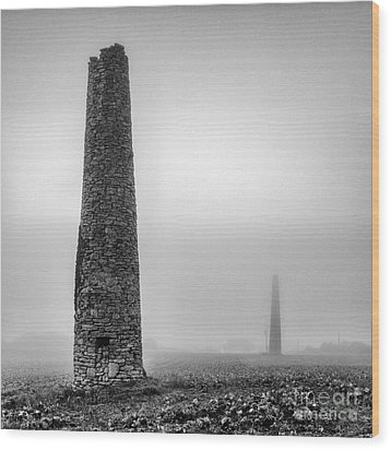 A Twin Cornish Mine Chimneys Wood Print by John Farnan