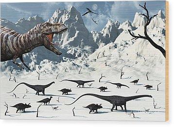 A  Tyrannosaurus Rex Stalks A Mixed Wood Print by Mark Stevenson