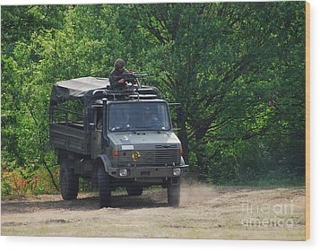 A Unimog Vehicle Of The Belgian Army Wood Print by Luc De Jaeger