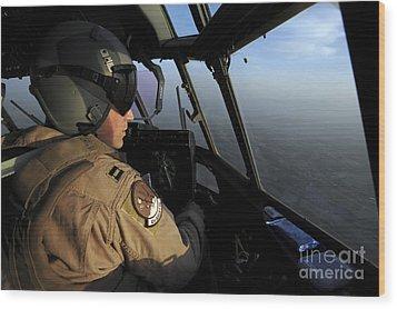 A U.s. Air Force C-130j Hercules Pilot Wood Print by Stocktrek Images