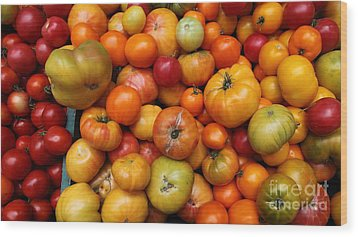 A Variety Of Fresh Tomatoes - 5d17812-long Wood Print by Wingsdomain Art and Photography