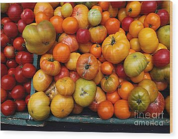 A Variety Of Fresh Tomatoes - 5d17812 Wood Print by Wingsdomain Art and Photography