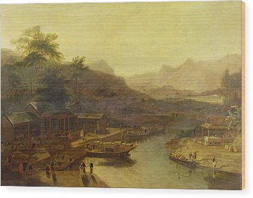 A View In China - Cultivating The Tea Plant Wood Print by William Daniell