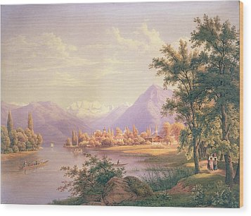 A View Of Scherzingen On The Lake Of Thun Wood Print by Jakob Suter