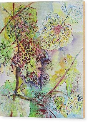 Wood Print featuring the painting A Vineyard Morning by Karen Fleschler