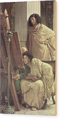 A Visit To The Studio Wood Print by Sir Lawrence Alma-Tadema
