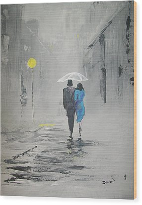 A Walk In The Rain Wood Print by Raymond Doward