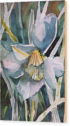 A Weepy Daffodil Wood Print by Mindy Newman