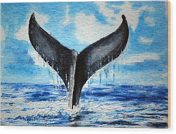 Wood Print featuring the painting A Whales Tail by Lynn Hughes