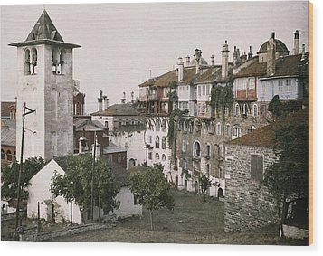 A White Bell Tower Stands Bright Wood Print by Maynard Owen Williams