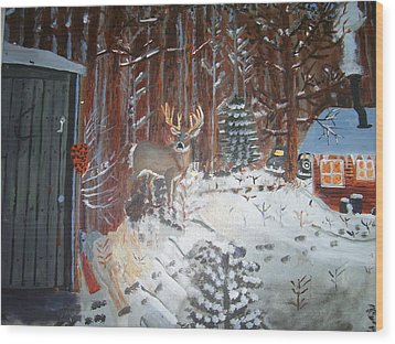 A Whitetail Buck In Back Of Cabin In The Snow Wood Print by Swabby Soileau