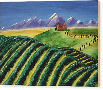 A Winery In Tuscany Wood Print by Spencer Hudon II