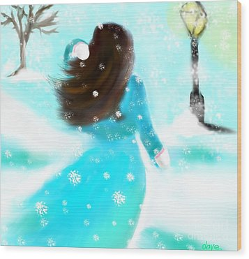 Wood Print featuring the painting A Winter Day by Lori  Lovetere