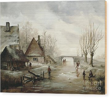 A Winter Landscape With Figures Skating Wood Print by Dutch School