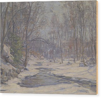 A Winter Morning  Wood Print by Frank Townsend Hutchens