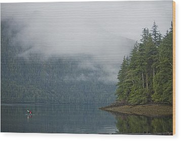 A Woman Kayaks Along A Quiet Inlet Wood Print by Taylor S. Kennedy