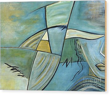 Beautiful Woman Contemporary Abstract Art Portrait Prints For Modern Living Rooms Wood Print by Marie Christine Belkadi
