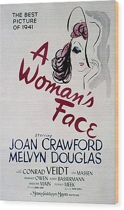 A Womans Face, Joan Crawford, 1941 Wood Print by Everett