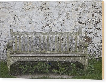 A Wooden Bench With Peeling Paint Wood Print by John Short