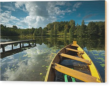 A Wooden Boat On A Lake In Suwalki Lake District Wood Print by Slawek Staszczuk