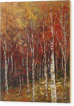 Wood Print featuring the painting A Woodpath by Tatiana Iliina
