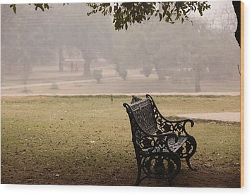 A Wrought Iron Black Metal Bench Under A Tree In The Qutub Minar Compound Wood Print by Ashish Agarwal