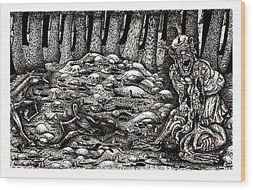 Aaron Battles The Ogre Wood Print by Al Goldfarb