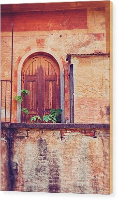 Abandoned Building Door With Leaves Wood Print by Silvia Ganora