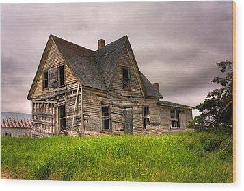 Abandoned Farm House Wood Print by Matt Dobson
