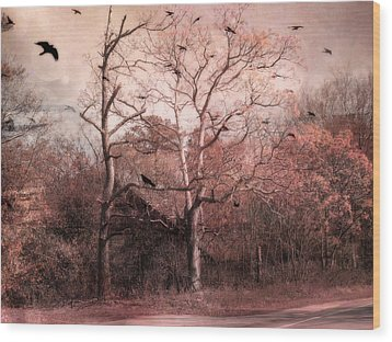 Abandoned Haunted Barn With Crows Wood Print by Kathy Fornal