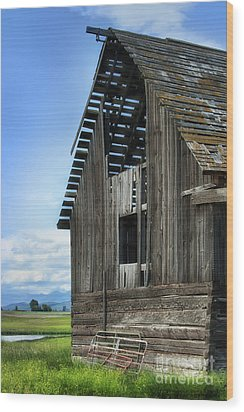 Abandoned Montana Barn Wood Print by Sandra Bronstein