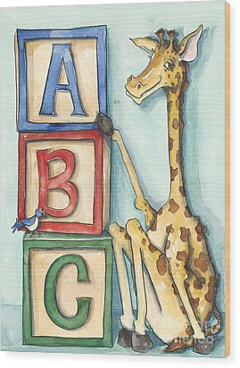 Abc Blocks - Giraffe Wood Print by Annie Laurie