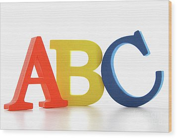 Abc Letters On White  Wood Print by Sandra Cunningham