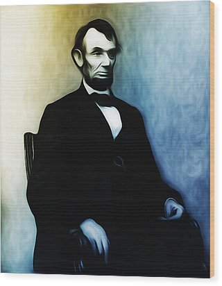 Abe Lincoln Seated Wood Print by Bill Cannon