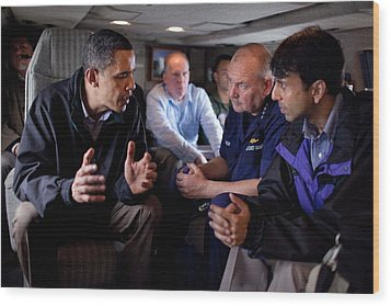Aboard Marine One President Obama Meets Wood Print by Everett