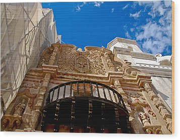 Above The Front Entry San Xavier Mission Wood Print by Jon Berghoff