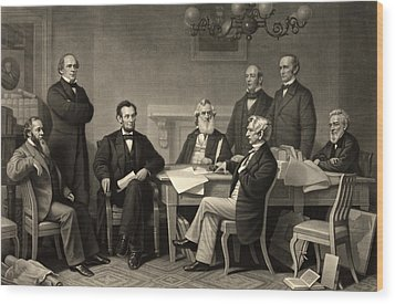 Abraham Lincoln At The First Reading Of The Emancipation Proclamation - July 22 1862 Wood Print by International  Images