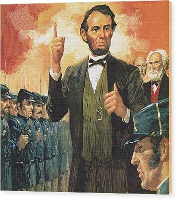 Abraham Lincoln Wood Print by English School