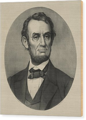 Wood Print featuring the photograph Abraham Lincoln Portrait by International  Images