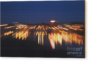 Abstract - City Lights Wood Print by Sue Stefanowicz