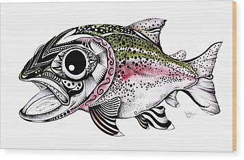 Abstract Alaskan Rainbow Trout Wood Print by J Vincent Scarpace